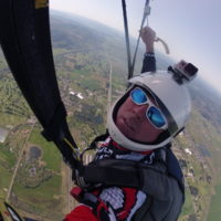 Mark Shoemaker under skydiving canopy