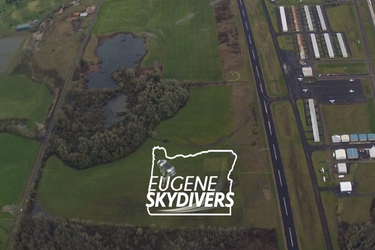aerial view of landing area at Eugene Skydivers